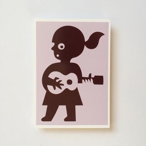Briefkaart_kind_meisje_gitaar