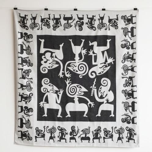 Tafelkleed Wayang Zwart, vierkant
